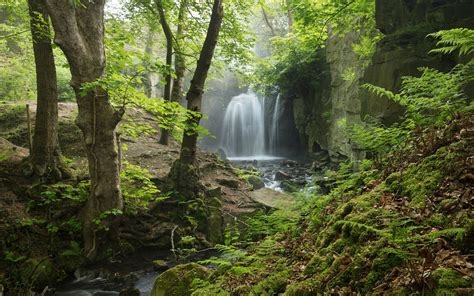 wallpaper england derbyshire peak district waterfall