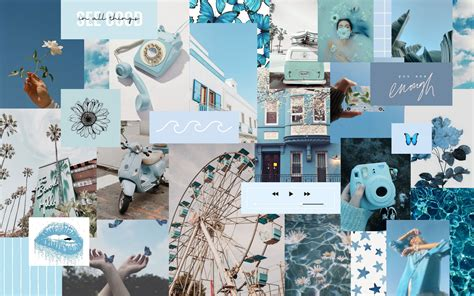 blue collage aesthetic desktop wallpaper desktop