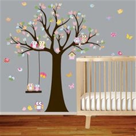 vinyl wall decal stickers owl tree with swing by