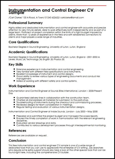 instrumentation and engineer cv sle myperfectcv