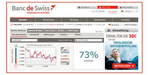 banc de swiss opzioni binarie con il trading tedesco