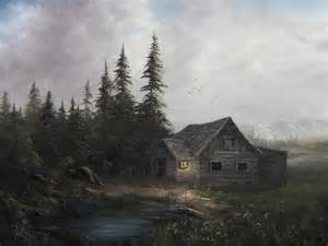 Kevin Hill Paintings Cabins