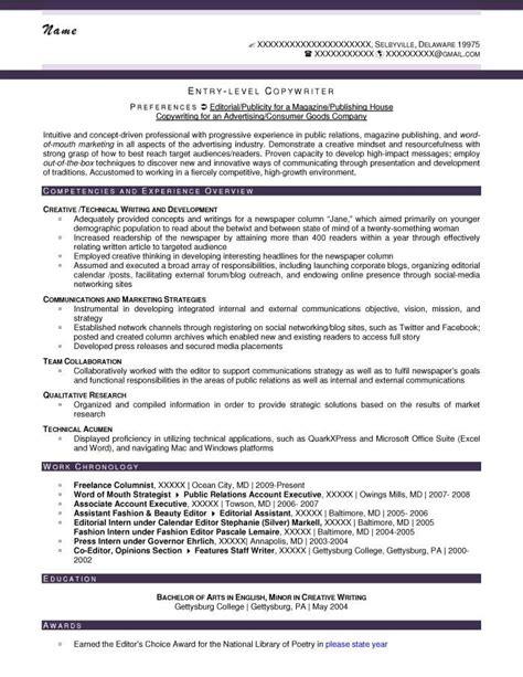 Copywriter Resumes by Entry Level Copywriter Resume Sle After Copywriting