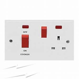 970B 45A Cooker Switch with Socket and Neon Indicator