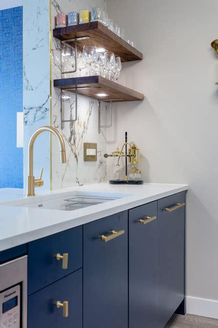 navy  gold kitchen  walnut shelves contemporary