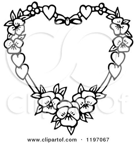 clipart   black  white floral heart royalty
