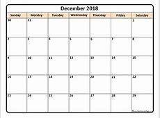 December 2018 Calendar Printable Templates Site Provides