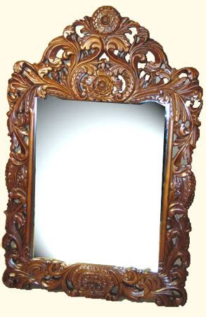 dressing mirrorhand carved mahogany  french floral