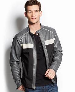 Guess Colorblocked Faux-Leather Jacket in Gray for Men | Lyst