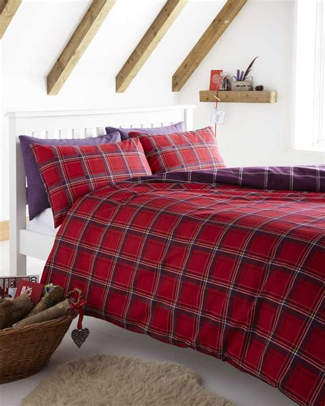 Red Blue Grey Checked Duvet Cover Sets Bedding Tartan Bed