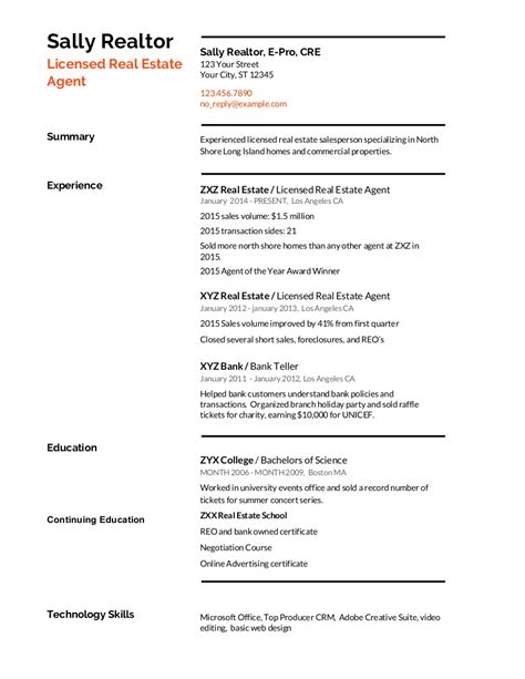 Realtor Resume Sle by Real Estate Resume Writing Guide With Template