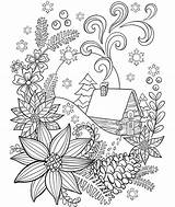 Coloring Cabin Snow Adults Crayola Pages Adult Winter Christmas Colouring Sheets Pattern Mandala Holiday Books Grown Cat Flower Cardinal Printable sketch template