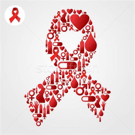 red ribbon symbol  aids icons vector illustration