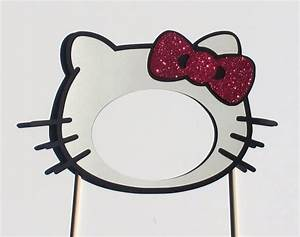 For the girls hello kitty photo booth prop mask with by for Hello kitty mask template