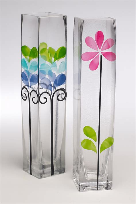 glass painting flower vase diy glass painting patterns ideas