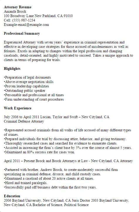 Attorney Resume Template by 1 Attorney Resume Templates Try Them Now Myperfectresume