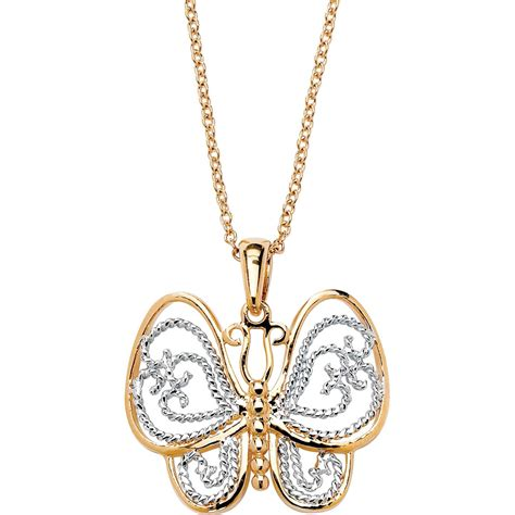 palmbeach 18k yellow gold plated filigree butterfly
