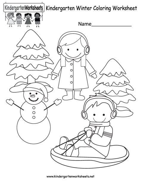 winter coloring worksheet free kindergarten seasonal