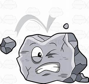 A Big Rock Being Hit By A Falling Rock Cartoon Clipart ...