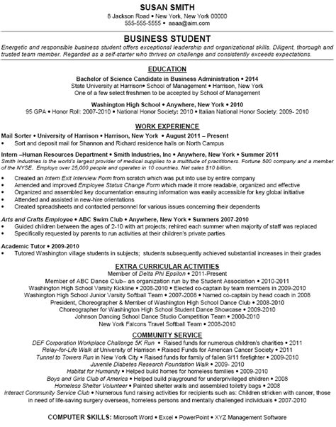 Curricular Activity In Resume by Exle Extracurricular Activities Dfwhailrepair Resume Student Resume