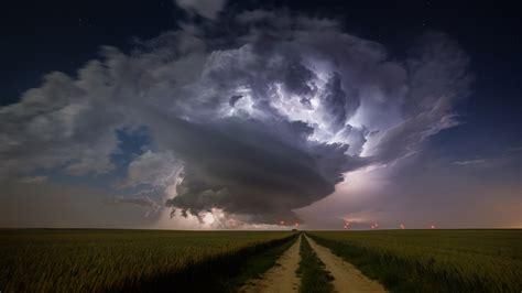 wallpaper landscape lights sky field clouds