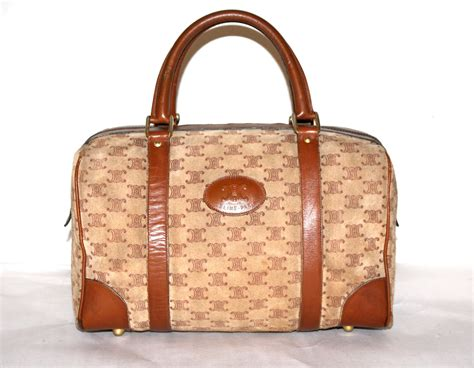 celine vintage speedy bag tan suede monogrammed brown leather