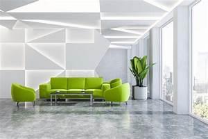 Geometric, Office, Waiting, Room, Green, Sofa, Stock, Illustration