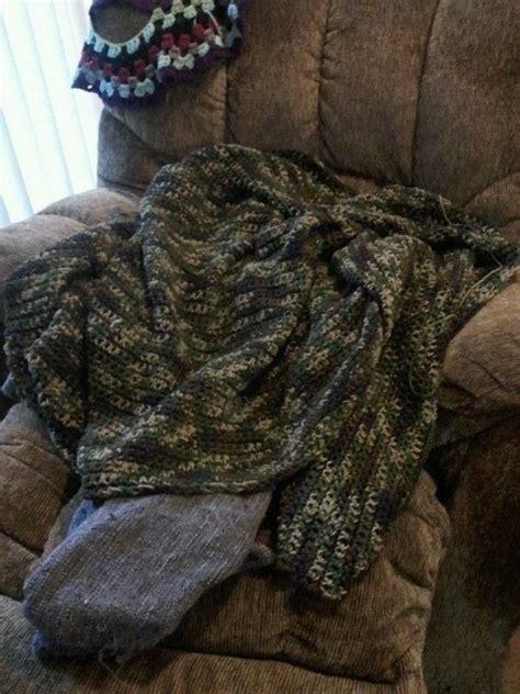 janines camo afghan  knit  crochet blanket