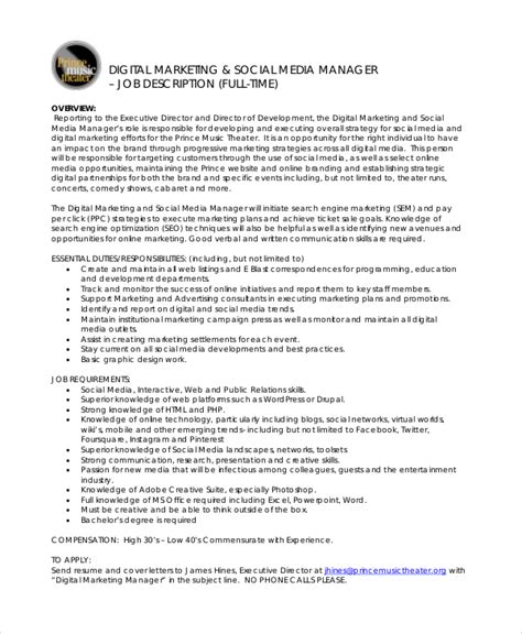Marketing Coordinator Description And Duties by 9 Marketing Manager Description Free Sle Exle Format Free Premium Templates
