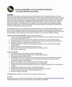 9 marketing manager job description free sample for Samples of job descriptions templates