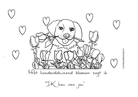 Ik Hou Jou Kleurplaat by Met Honderdduizend Bloemen Zegt Ik Hou Jou Kleurplaat