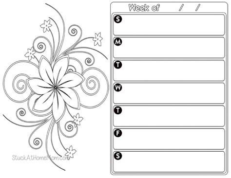 weekly planner color page  printout calendar