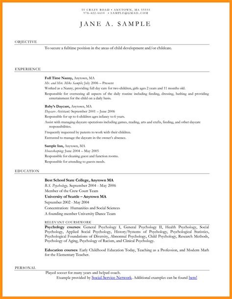 Childcare Resume Sle by Social Work Objective Exles Memo Exle