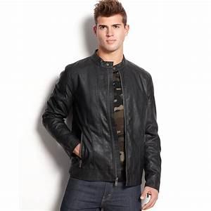 Guess Jacket Jordan Faux Leather Moto in Black for Men | Lyst