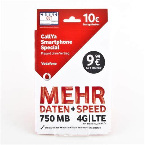 vodafone callya smartphone special prepaid karte sim karte
