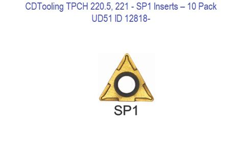 TPCH 220.5, 221 - UD51 Carbide Inserts 10 Pack ID 12818-
