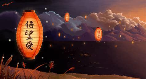 Anime Illustration Wallpaper - lantern wallpaper wallpapersafari