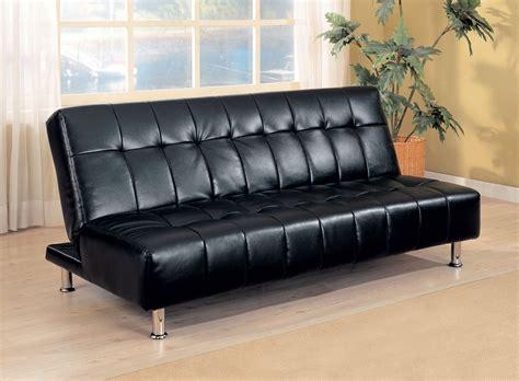 Black Leatherette Tufted Sofa Bed Futon Caravana Furniture