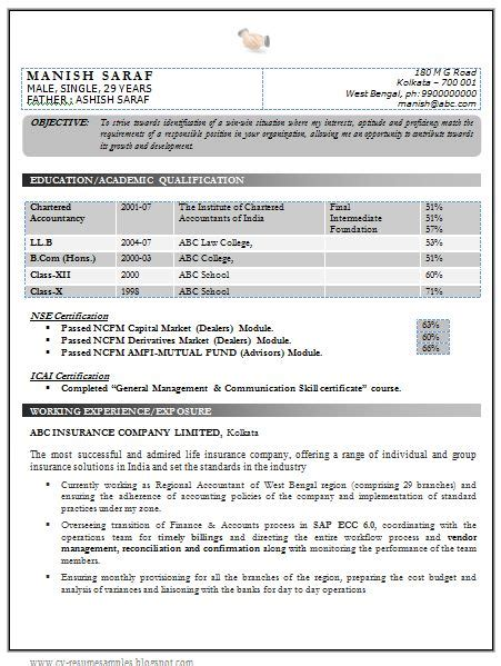 Chartered Accountant Resume Sles India by Best Chartered Accountant Resume Sle Doc With