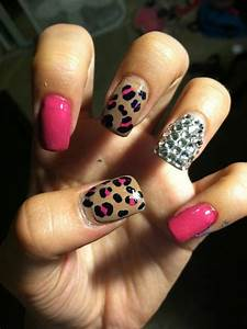 Pink Leopard & Diamond Nails. Cute combo for any color ...