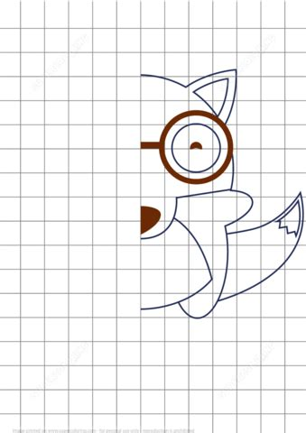 draw wolf grid puzzle  printable puzzle games