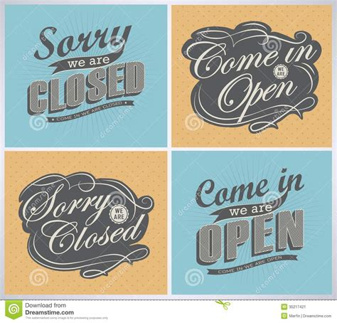 open and closed vintage retro signs stock vector image 35217421