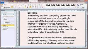 Creating Structured Documents In Microsoft Word 2010