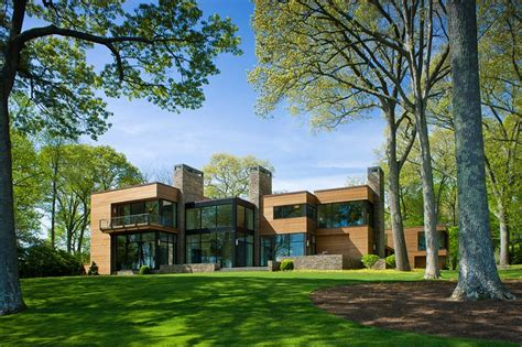secluded contemporary connecticut home   trees