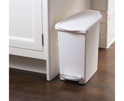 slim bathroom trash can with lid simplehuman 10l slim white plastic step trash can