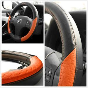 black and orange steering wheel cover pvc leather black orange unique steering wheel cover jdm