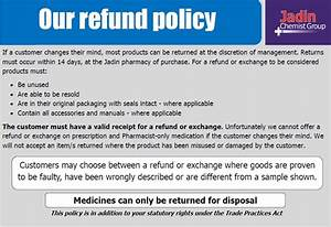 Jadin chemist services we offer brisbane pharmacy for Returns policy template