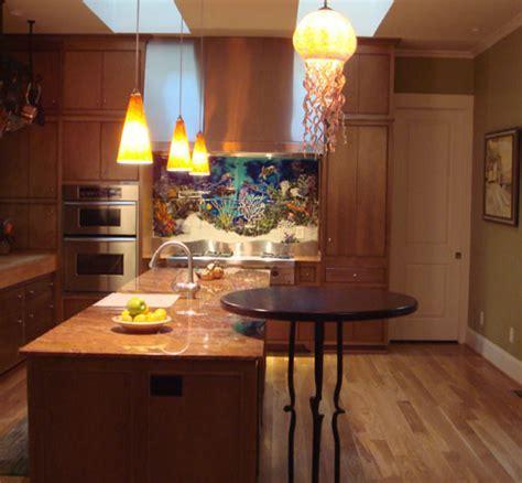"Custom Glass Tile Mural ""Underwater Seascape"" in Kitchen"