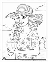 Summer Coloring Adult Pages Vacation sketch template