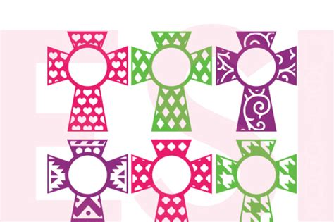 For users, who uses the free version of silhouette studio. Patterned Cross Monogram Designs Set 2 - SVG, DXF,EPS ...